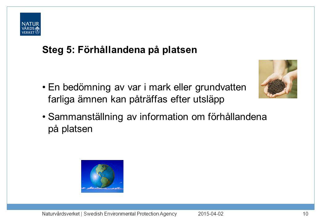 Steg 5: Förhållandena på platsen En bedömning av var i mark eller grundvatten farliga ämnen kan påträffas efter utsläpp Sammanställning av information