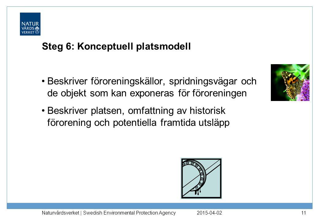 Steg 6: Konceptuell platsmodell Beskriver föroreningskällor, spridningsvägar och de objekt som kan exponeras för föroreningen Beskriver platsen, omfat