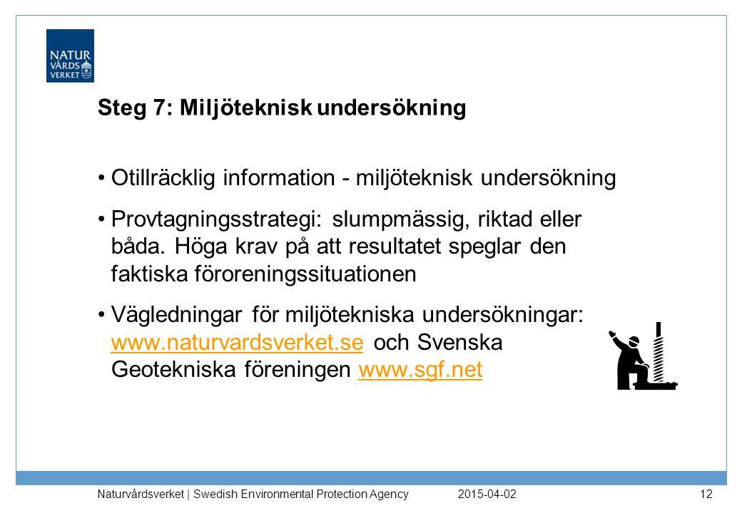 Steg 7: Miljöteknisk undersökning Otillräcklig information - miljöteknisk undersökning Provtagningsstrategi: slumpmässig, riktad eller båda. Höga krav