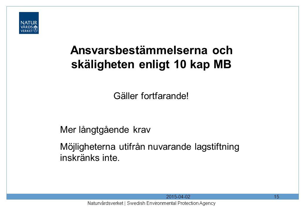 Ansvarsbestämmelserna och skäligheten enligt 10 kap MB Gäller fortfarande! Mer långtgående krav Möjligheterna utifrån nuvarande lagstiftning inskränks