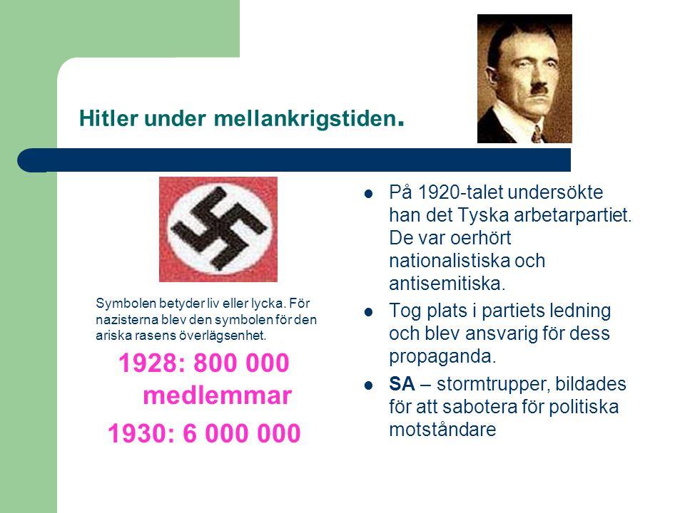 Hitler under mellankrigstiden.Symbolen betyder liv eller lycka.