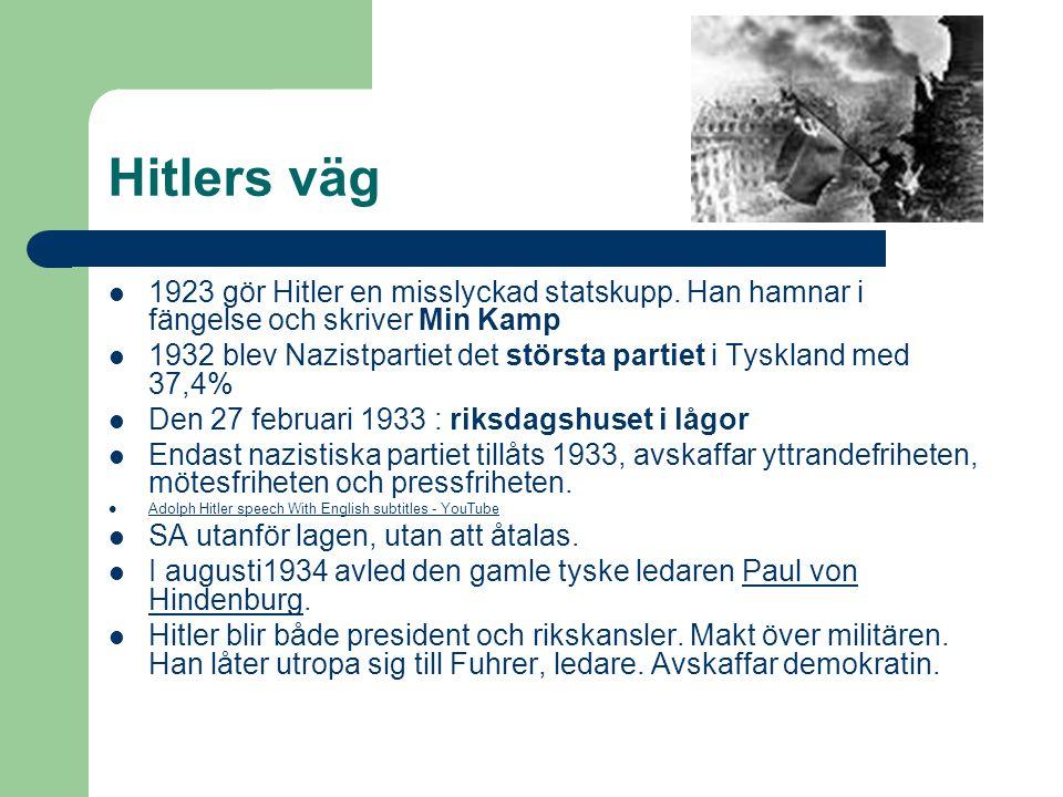Hitlers väg 1923 gör Hitler en misslyckad statskupp.