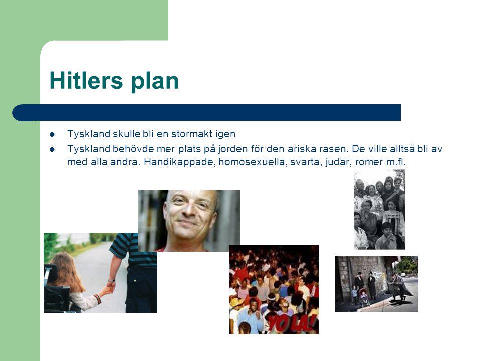 Hitlers plan Tyskland skulle bli en stormakt igen Tyskland behövde mer plats på jorden för den ariska rasen.