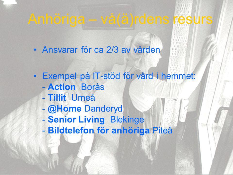 Anhöriga – vå(ä)rdens resurs Ansvarar för ca 2/3 av vården Exempel på IT-stöd för vård i hemmet: - Action Borås - Tillit Umeå - @Home Danderyd - Senio