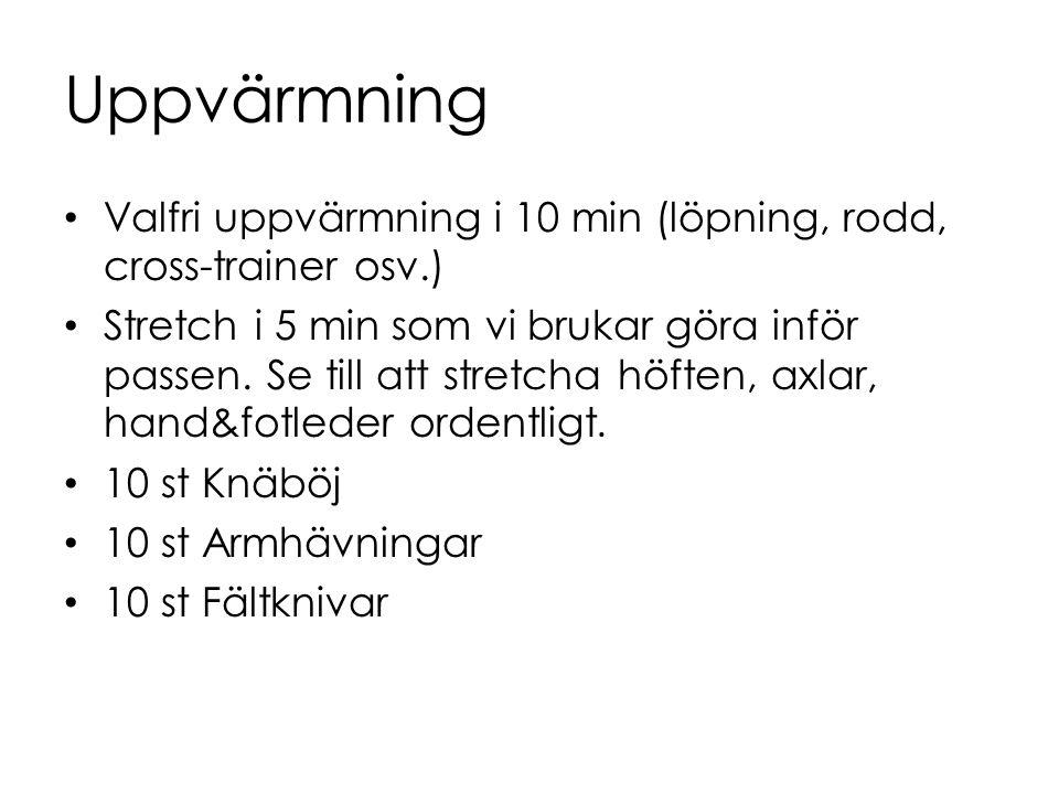 Uppvärmning Valfri uppvärmning i 10 min (löpning, rodd, cross-trainer osv.) Stretch i 5 min som vi brukar göra inför passen. Se till att stretcha höft