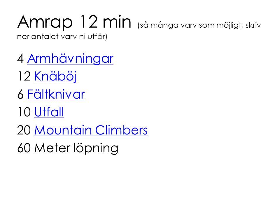 Amrap 12 min (så många varv som möjligt, skriv ner antalet varv ni utför) 4 ArmhävningarArmhävningar 12 KnäböjKnäböj 6 FältknivarFältknivar 10 UtfallU