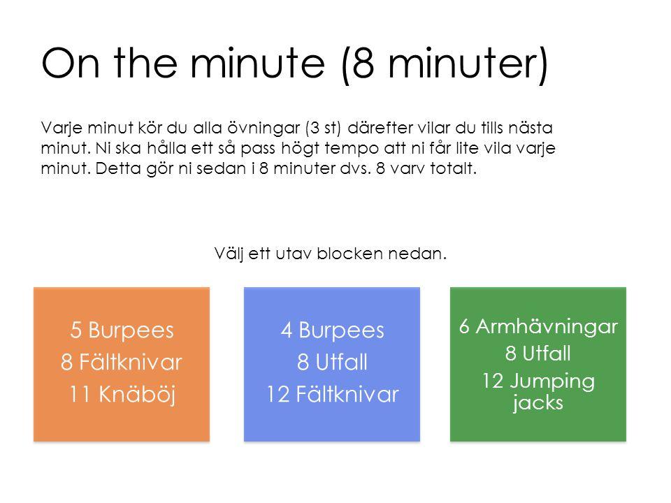 On the minute (8 minuter) 5 Burpees 8 Fältknivar 11 Knäböj 4 Burpees 8 Utfall 12 Fältknivar 6 Armhävningar 8 Utfall 12 Jumping jacks Välj ett utav blo