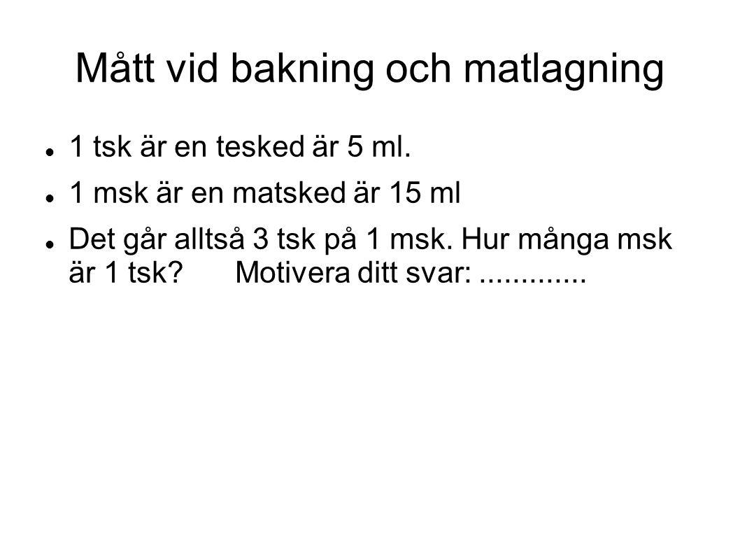 Mått vid bakning och matlagning 1 tsk är en tesked är 5 ml. 1 msk är en matsked är 15 ml Det går alltså 3 tsk på 1 msk. Hur många msk är 1 tsk?Motiver
