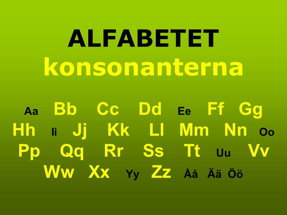 ALFABETET konsonanterna Aa Bb Cc Dd Ee Ff Gg Hh Ii Jj Kk Ll Mm Nn Oo Pp Qq Rr Ss Tt Uu Vv Ww Xx Yy Zz Åå Ää Öö