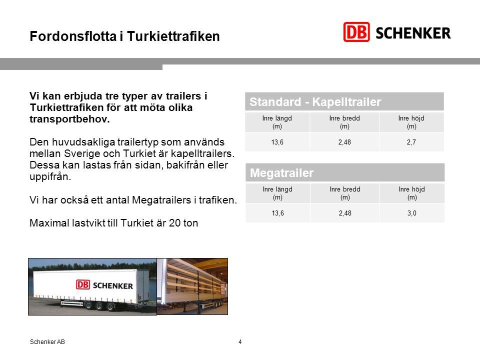 Fordonsflotta i Turkiettrafiken Vi kan erbjuda tre typer av trailers i Turkiettrafiken för att möta olika transportbehov.