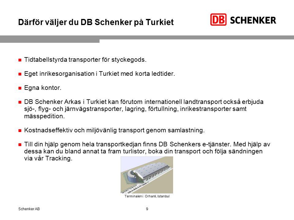 Därför väljer du DB Schenker på Turkiet Tidtabellstyrda transporter för styckegods.