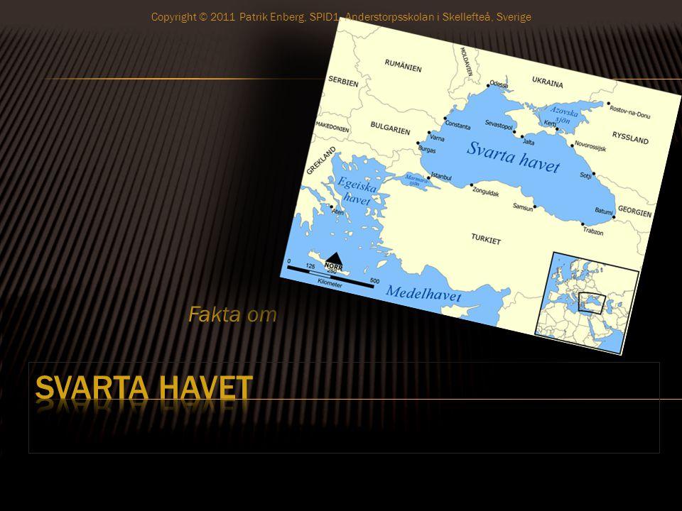* Svarta Havet är ett bihav till Medelhavet * Ligger mellan mindre Asien och sydöstra Europa Copyright © 2011 Patrik Enberg, SPID1, Anderstorpsskolan i Skellefteå, Sverige