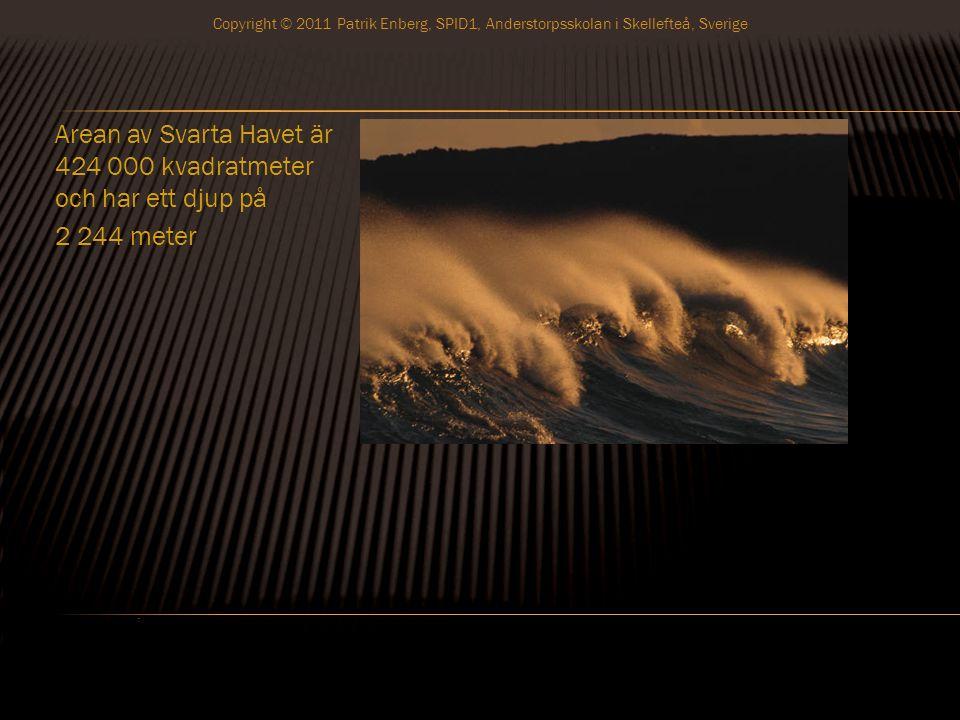 Arean av Svarta Havet är 424 000 kvadratmeter och har ett djup på 2 244 meter Copyright © 2011 Patrik Enberg, SPID1, Anderstorpsskolan i Skellefteå, Sverige