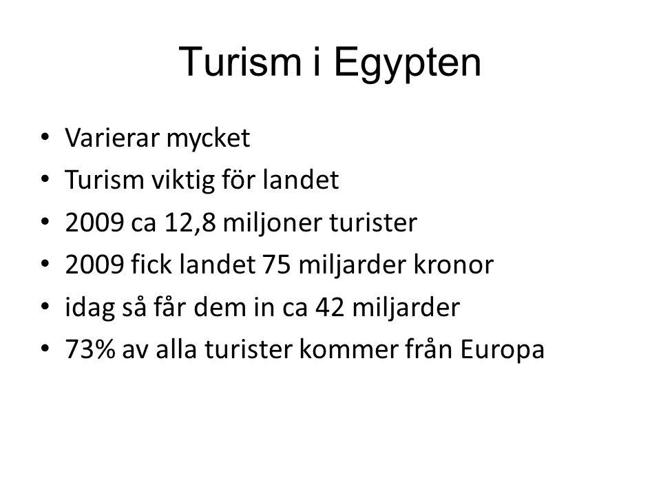 Turism i Egypten Varierar mycket Turism viktig för landet 2009 ca 12,8 miljoner turister 2009 fick landet 75 miljarder kronor idag så får dem in ca 42