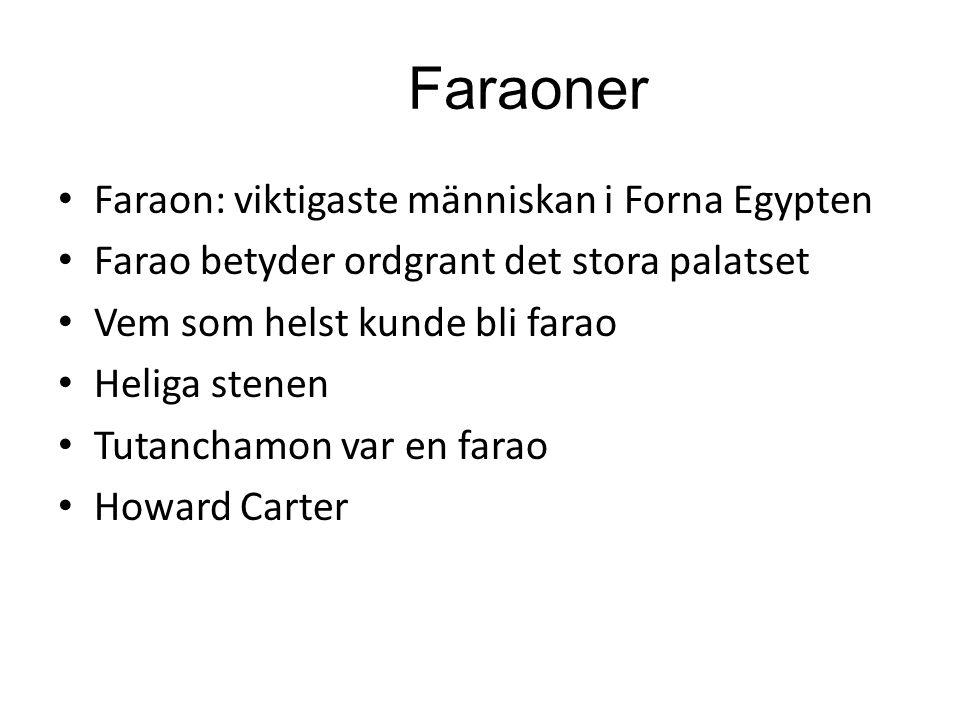 Faraoner Faraon: viktigaste människan i Forna Egypten Farao betyder ordgrant det stora palatset Vem som helst kunde bli farao Heliga stenen Tutanchamo