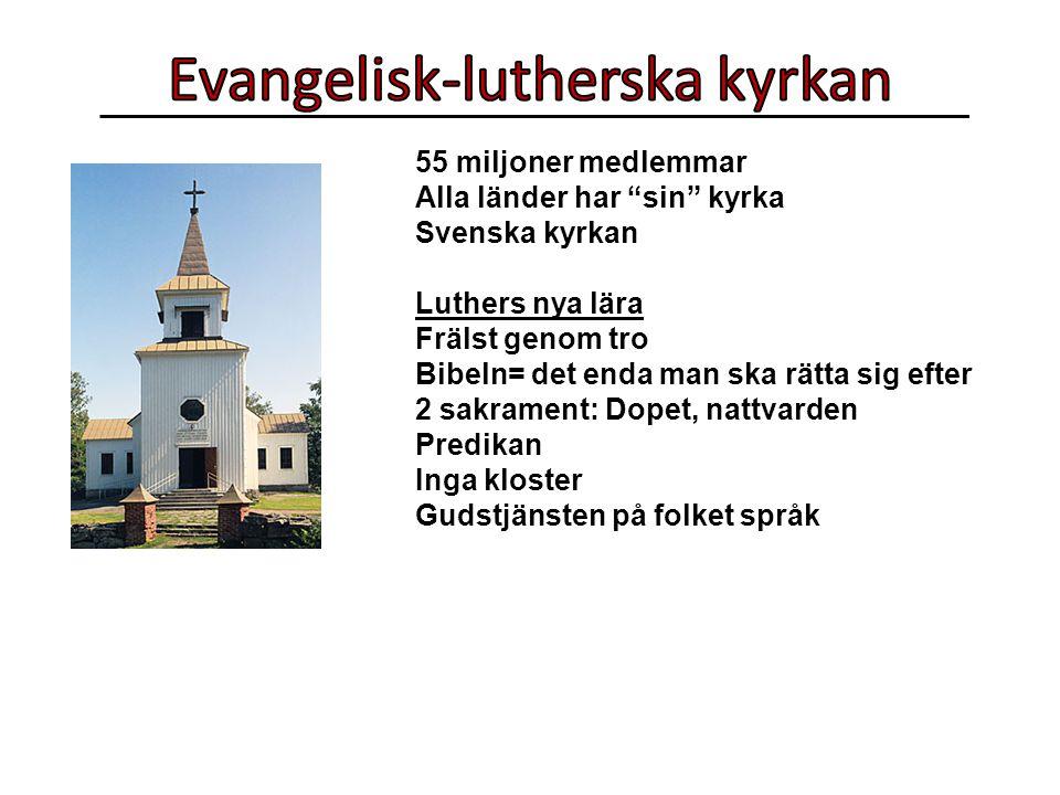 55 miljoner medlemmar Alla länder har sin kyrka Svenska kyrkan Luthers nya lära Frälst genom tro Bibeln= det enda man ska rätta sig efter 2 sakrament: Dopet, nattvarden Predikan Inga kloster Gudstjänsten på folket språk