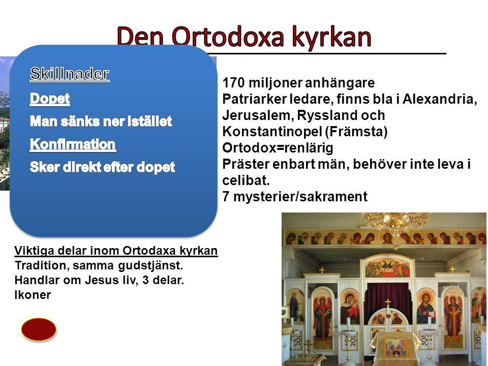 170 miljoner anhängare Patriarker ledare, finns bla i Alexandria, Jerusalem, Ryssland och Konstantinopel (Främsta) Ortodox=renlärig Präster enbart män, behöver inte leva i celibat.