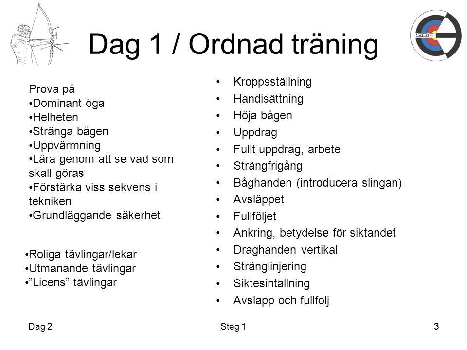 3 Dag 1 / Ordnad träning Kroppsställning Handisättning Höja bågen Uppdrag Fullt uppdrag, arbete Strängfrigång Båghanden (introducera slingan) Avsläppe