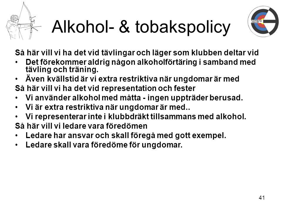 41 Alkohol- & tobakspolicy Så här vill vi ha det vid tävlingar och läger som klubben deltar vid Det förekommer aldrig någon alkoholförtäring i samband