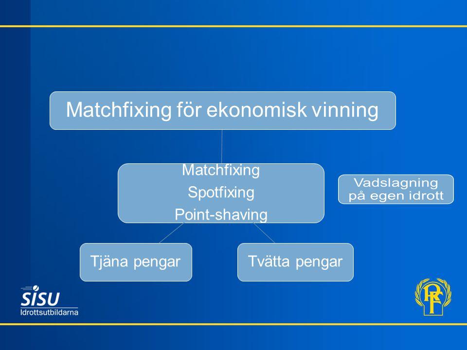 Matchfixing Spotfixing Point-shaving Matchfixing för ekonomisk vinning Tvätta pengarTjäna pengar