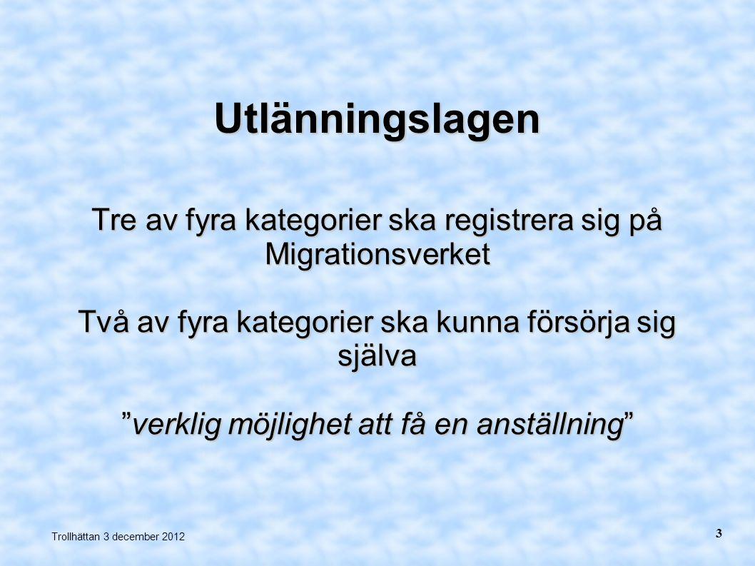 """Utlänningslagen Tre av fyra kategorier ska registrera sig på Migrationsverket Två av fyra kategorier ska kunna försörja sig själva """"verklig möjlighet"""