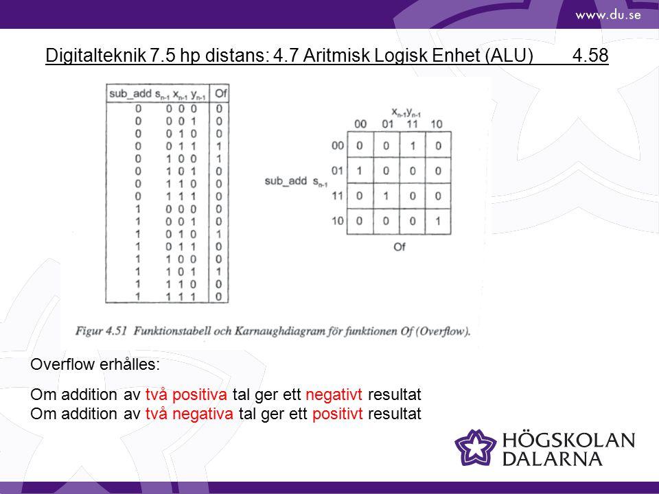 Digitalteknik 7.5 hp distans: 4.7 Aritmisk Logisk Enhet (ALU) 4.58 Overflow erhålles: Om addition av två positiva tal ger ett negativt resultat Om addition av två negativa tal ger ett positivt resultat