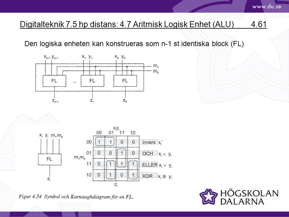 Digitalteknik 7.5 hp distans: 4.7 Aritmisk Logisk Enhet (ALU) 4.61 Den logiska enheten kan konstrueras som n-1 st identiska block (FL)