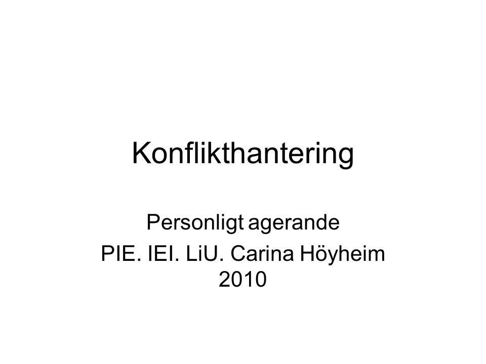Konflikthantering Personligt agerande PIE. IEI. LiU. Carina Höyheim 2010