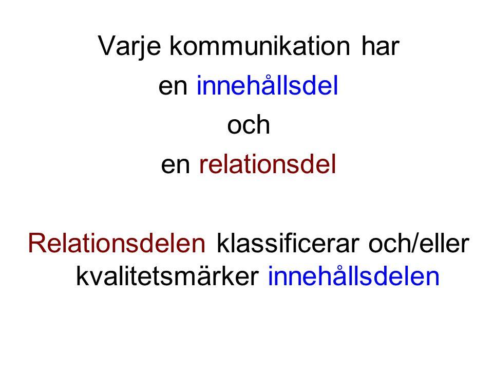Varje kommunikation har en innehållsdel och en relationsdel Relationsdelen klassificerar och/eller kvalitetsmärker innehållsdelen