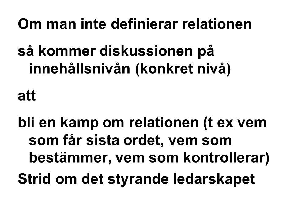 Om man inte definierar relationen så kommer diskussionen på innehållsnivån (konkret nivå) att bli en kamp om relationen (t ex vem som får sista ordet,