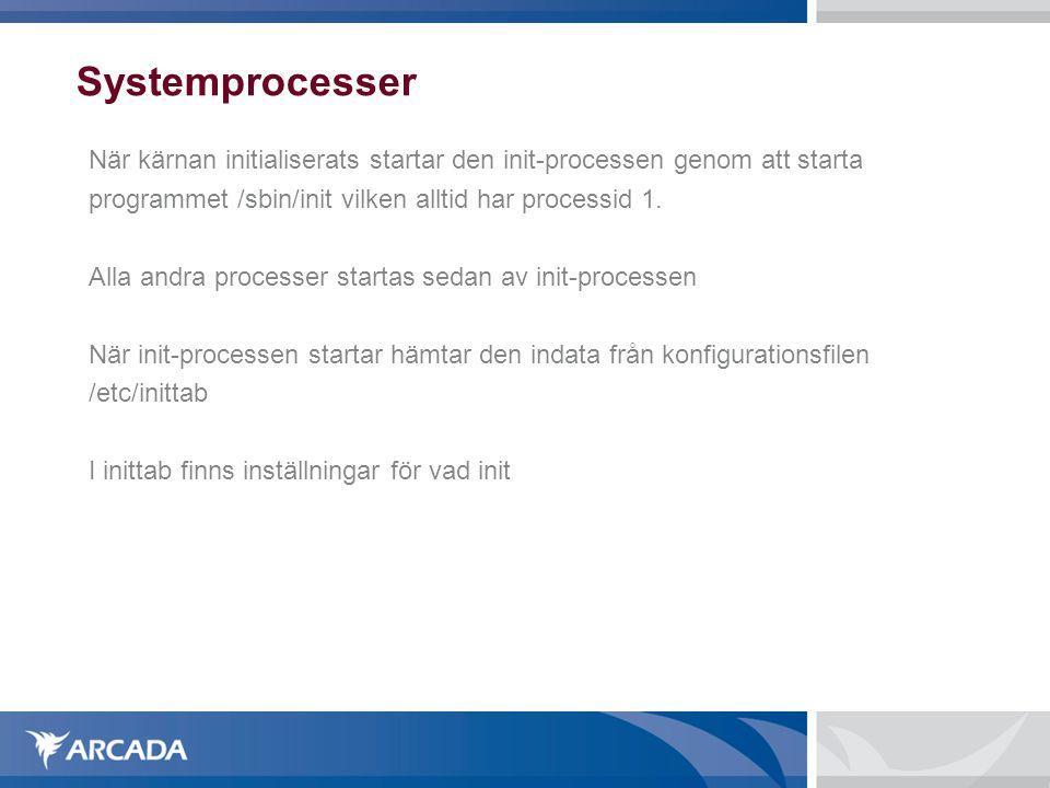 Systemprocesser När kärnan initialiserats startar den init-processen genom att starta programmet /sbin/init vilken alltid har processid 1.