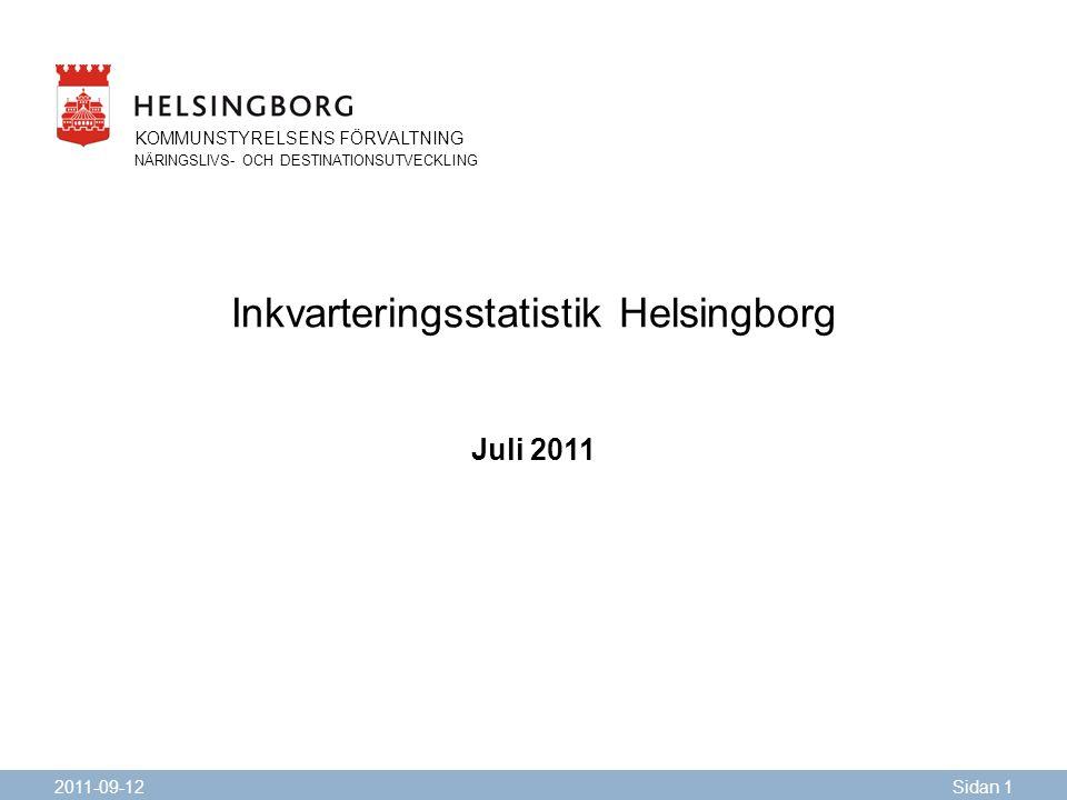 KOMMUNSTYRELSENS FÖRVALTNING NÄRINGSLIVS- OCH DESTINATIONSUTVECKLING Inkvarteringsstatistik Helsingborg Juli 2011 2011-09-12Sidan 1 KOMMUNSTYRELSENS FÖRVALTNING NÄRINGSLIVS- OCH DESTINATIONSUTVECKLING