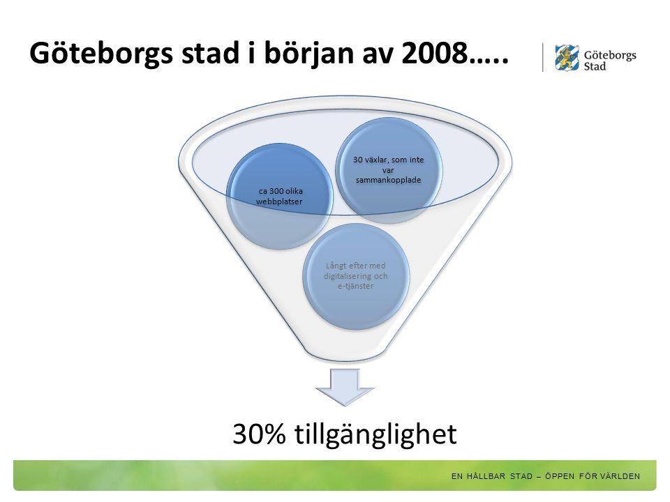 30% tillgänglighet Långt efter med digitalisering och e- tjänster ca 300 olika webbplatser 30 växlar, som inte var sammankopplade Göteborgs stad i bör