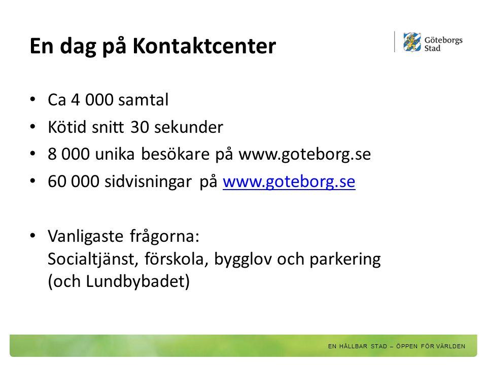 En dag på Kontaktcenter Ca 4 000 samtal Kötid snitt 30 sekunder 8 000 unika besökare på www.goteborg.se 60 000 sidvisningar på www.goteborg.sewww.gote