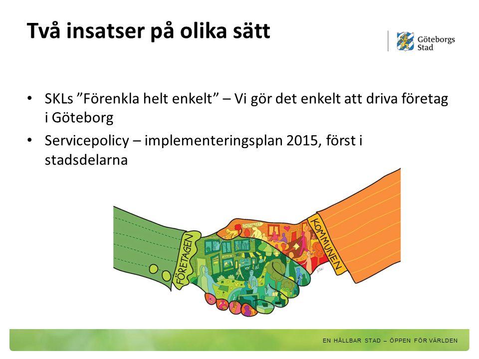 """Två insatser på olika sätt SKLs """"Förenkla helt enkelt"""" – Vi gör det enkelt att driva företag i Göteborg Servicepolicy – implementeringsplan 2015, förs"""