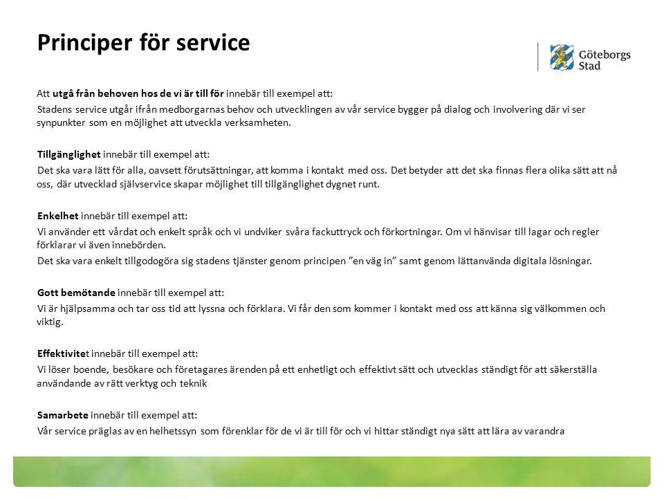 Principer för service Att utgå från behoven hos de vi är till för innebär till exempel att: Stadens service utgår ifrån medborgarnas behov och utveckl