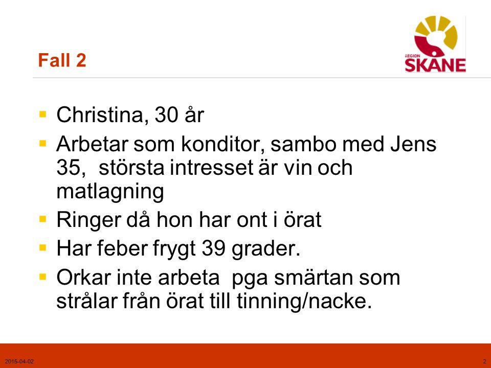 2015-04-022 Fall 2  Christina, 30 år  Arbetar som konditor, sambo med Jens 35, största intresset är vin och matlagning  Ringer då hon har ont i öra