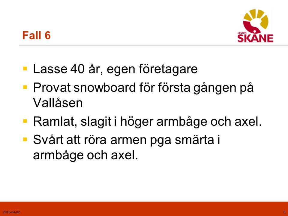 2015-04-026 Fall 6  Lasse 40 år, egen företagare  Provat snowboard för första gången på Vallåsen  Ramlat, slagit i höger armbåge och axel.  Svårt