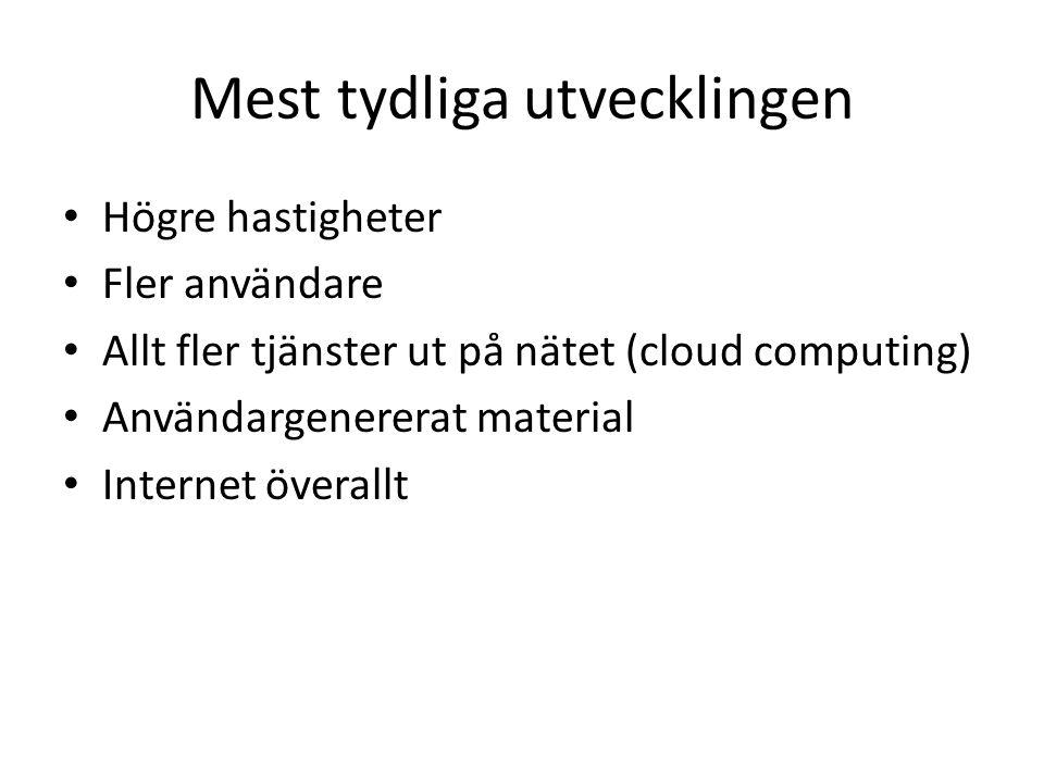 Mest tydliga utvecklingen Högre hastigheter Fler användare Allt fler tjänster ut på nätet (cloud computing) Användargenererat material Internet överallt