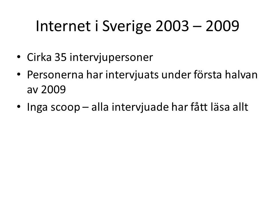 Internet i Sverige 2003 – 2009 Cirka 35 intervjupersoner Personerna har intervjuats under första halvan av 2009 Inga scoop – alla intervjuade har fått läsa allt