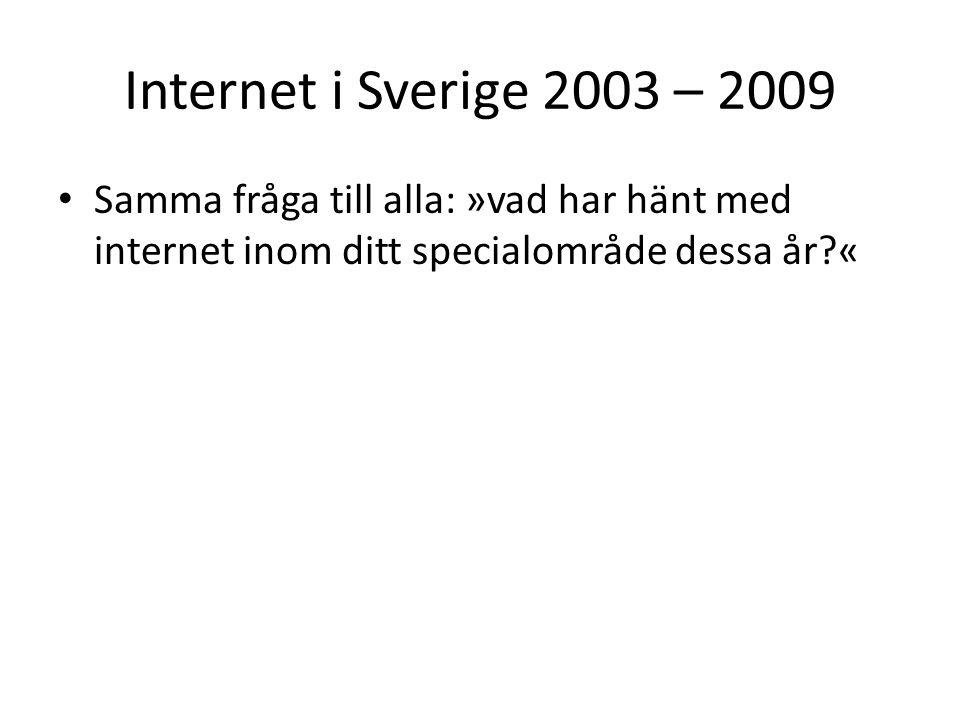Internet i Sverige 2003 – 2009 Samma fråga till alla: »vad har hänt med internet inom ditt specialområde dessa år?«