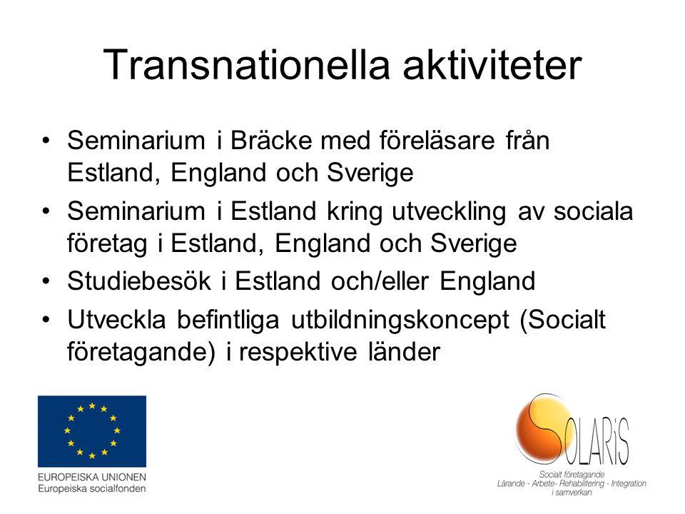 Transnationella aktiviteter Seminarium i Bräcke med föreläsare från Estland, England och Sverige Seminarium i Estland kring utveckling av sociala före