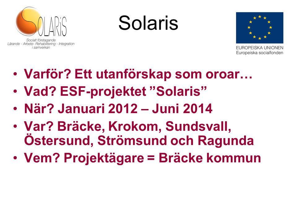 Solaris Beslut 15 december 2011 70 mkr totalt varav 30 mkr från ESF Start 1 januari 2012 Mobilisering januari - april 2012 Projektstart 1 maj 2012 – 30 juni 2014