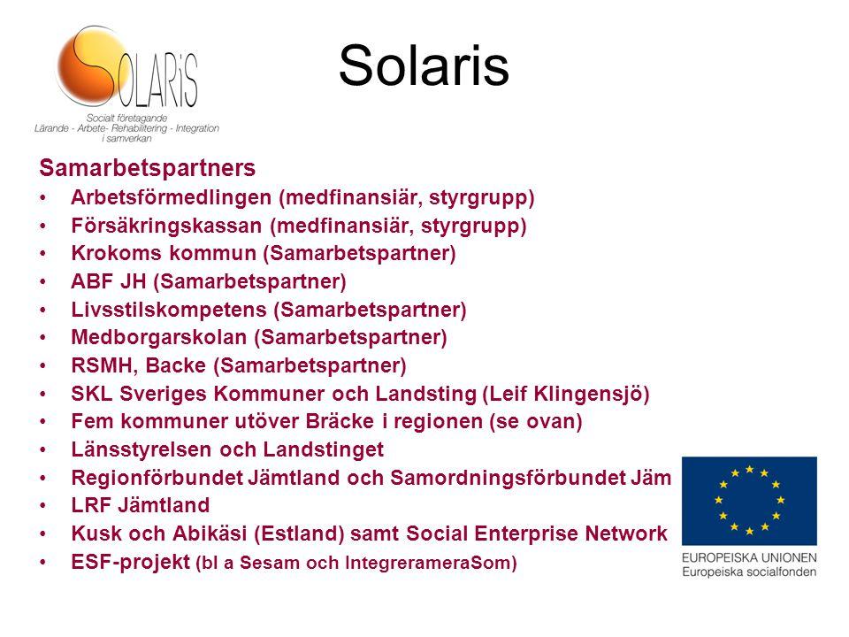 Solaris Samarbetspartners Arbetsförmedlingen (medfinansiär, styrgrupp) Försäkringskassan (medfinansiär, styrgrupp) Krokoms kommun (Samarbetspartner) A