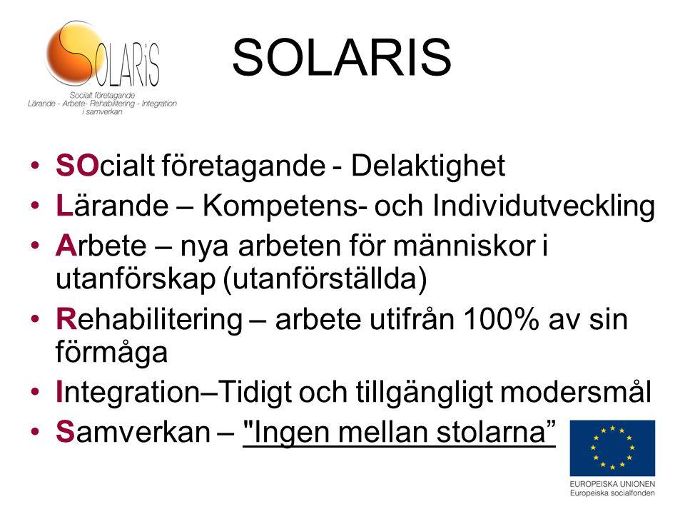 SOLARIS SOcialt företagande - Delaktighet Lärande – Kompetens- och Individutveckling Arbete – nya arbeten för människor i utanförskap (utanförställda)
