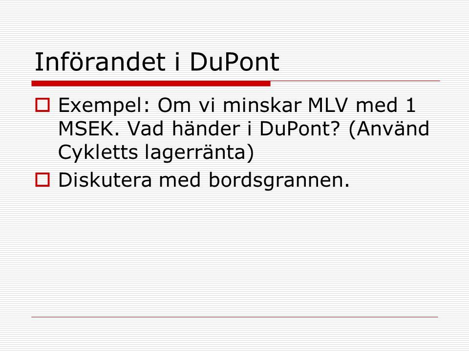 Införandet i DuPont  Exempel: Om vi minskar MLV med 1 MSEK. Vad händer i DuPont? (Använd Cykletts lagerränta)  Diskutera med bordsgrannen.