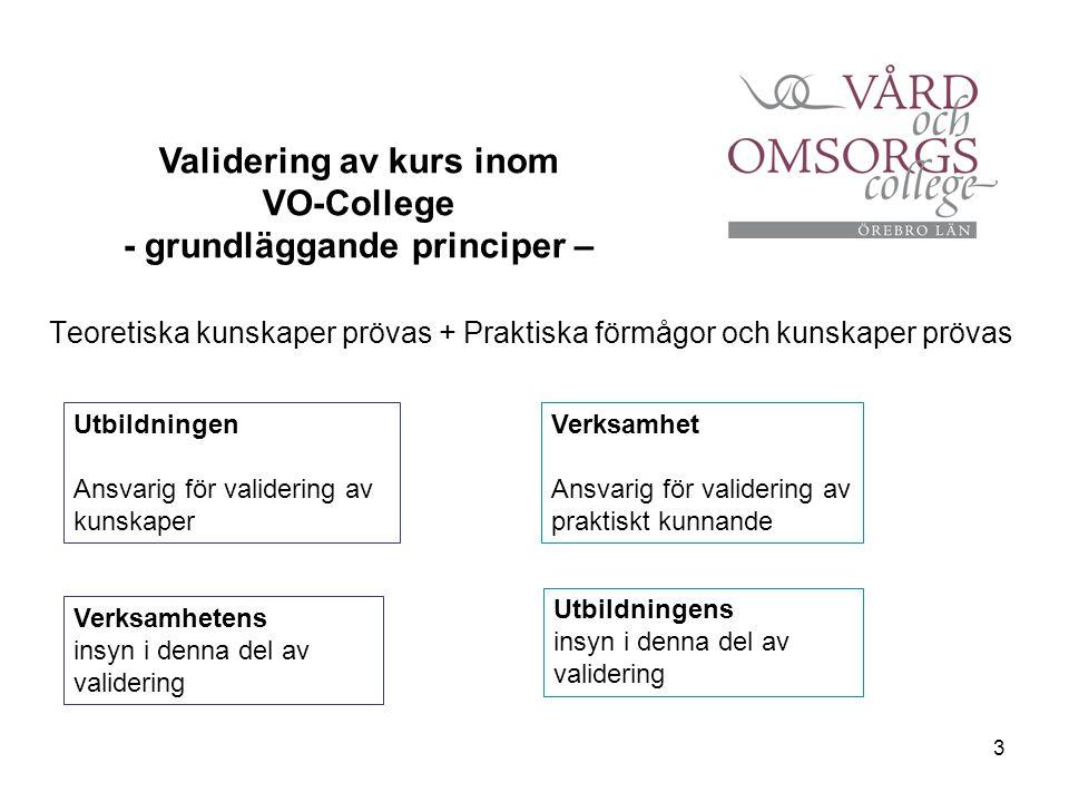 3 Teoretiska kunskaper prövas + Praktiska förmågor och kunskaper prövas Validering av kurs inom VO-College - grundläggande principer – Utbildningen An