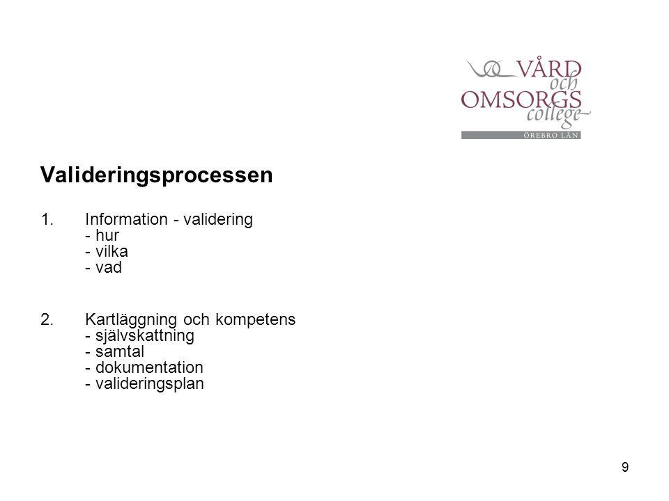 9 Valideringsprocessen 1.Information - validering - hur - vilka - vad 2.Kartläggning och kompetens - självskattning - samtal - dokumentation - valider