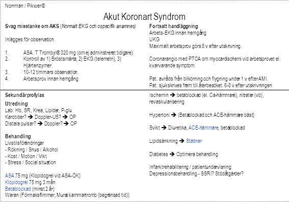 Norrman / Pikwer © Akut Koronart Syndrom Svag misstanke om AKS ( Normalt EKG och ospecifik anamnes) Inlägges för observation. 1.ASA. T Trombyl® 320 mg