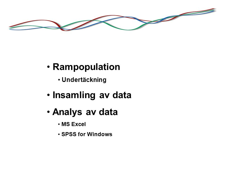 Rampopulation Undertäckning Insamling av data Analys av data MS Excel SPSS for Windows